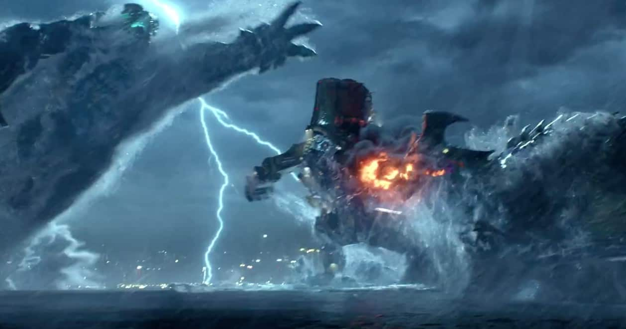 En Kaiju angriber en Jäger i Pacific Rim