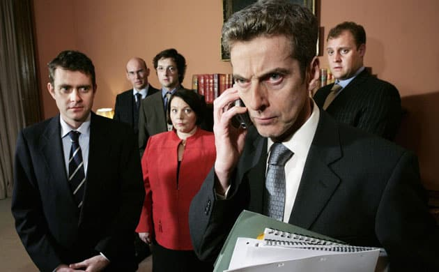 Peter Capaldi som den temperamentsfulde og temmeligt modbydelige spindoktor Malcolm Tucker i Armando Iannuccis skarpe politiske satire, The Thick of It